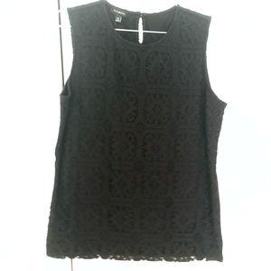 Talbots Sleeveless Blouse with Lace Overlay